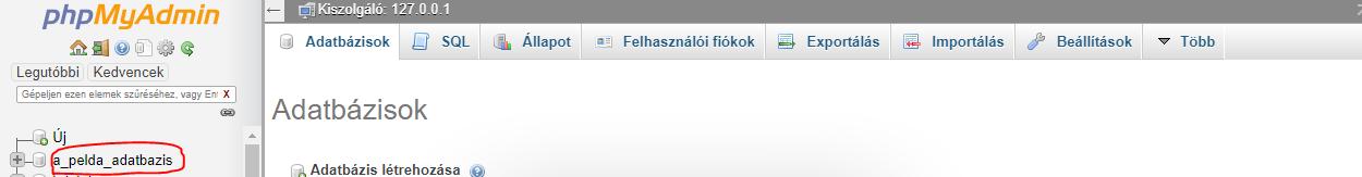 Látható, hogy létre is jött az az adatábzis a PHP segítségével.